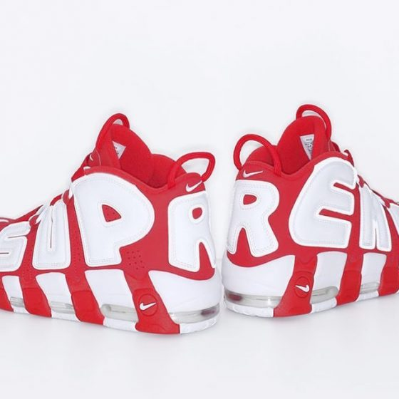 Подделка против оригинала Nike Air More Uptempo Supreme Red white