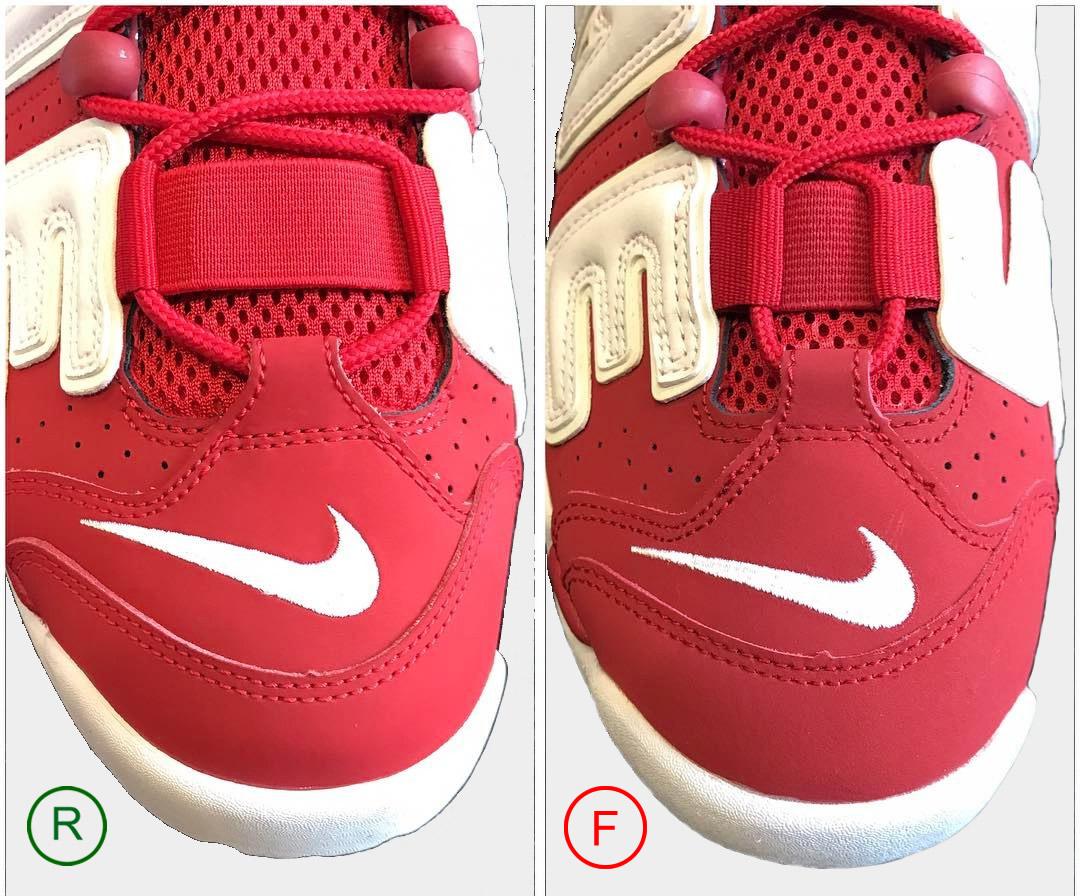 Площадка под логотип кроссовок Nike Air More Uptempo Supreme Red white.