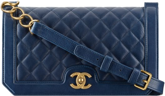 Сумка-конверт Chanel из кожи теленка темно-синяя