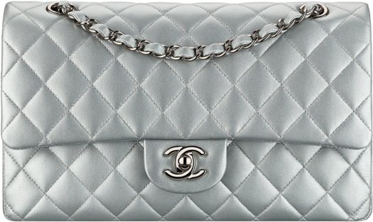 Серебряная классическая сумка-конверт Chanel
